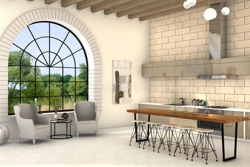 Cozy kitchen with big round window and big table. Cozy interior of a country style kitchen with big round windows stock illustration