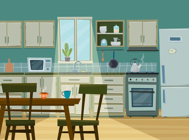 Download Cozy Kitchen Interior With Furniture And Stove Stock Vector    Illustration Of Appliances, Design
