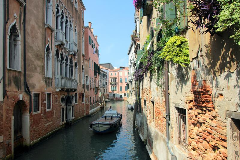 A cozy little beautiful water canal in Venice with old brick houses and greenery on facades in Italy stock photos