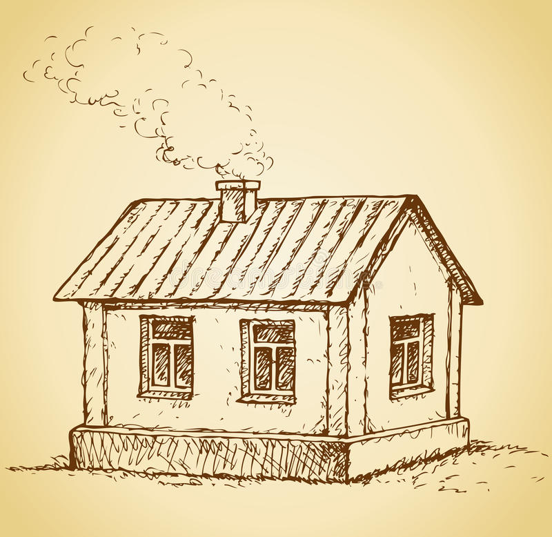 Cozy little house. Vector sketch stock illustration