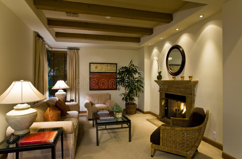 Cozy Living Room In House stock photo