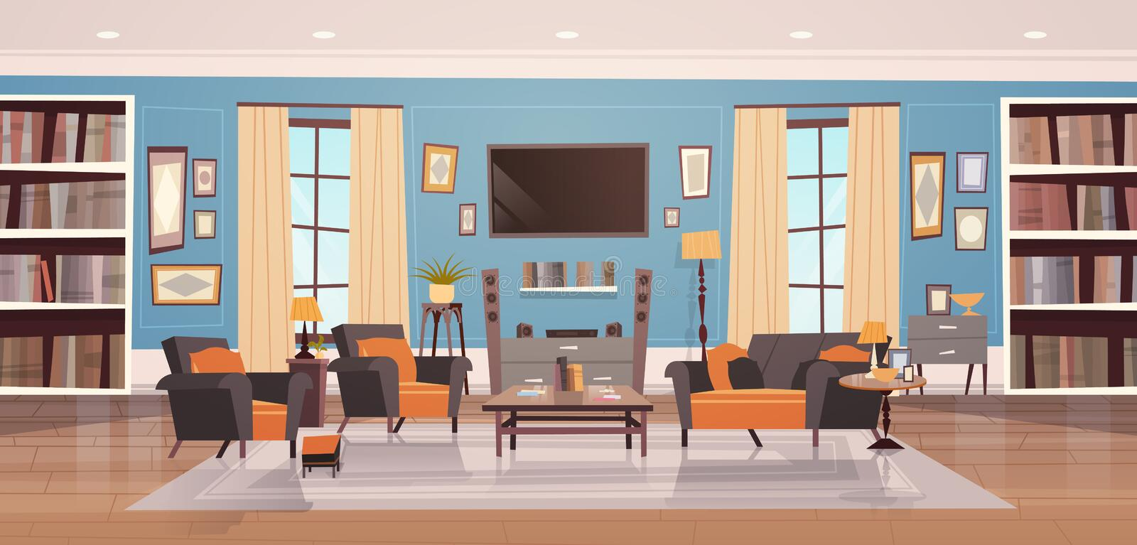 Cozy Living Room Interior Design With Modern Furniture, Windows, Sofa, Table Armchairs, Bookcase And Tv royalty free illustration