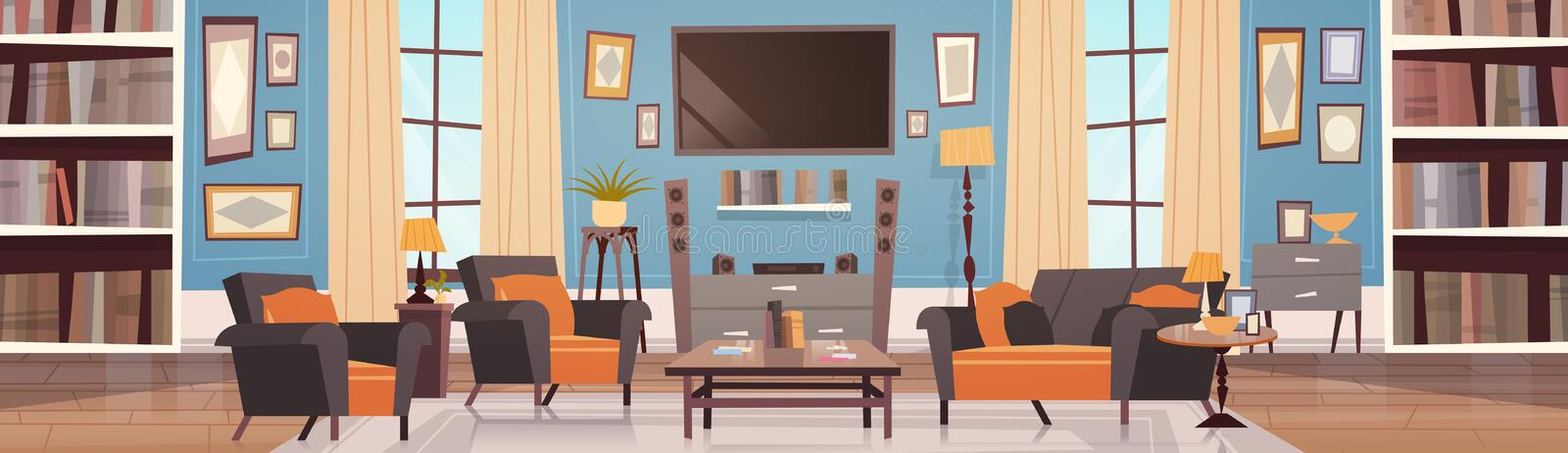Cozy Living Room Interior Design With Modern Furniture, Windows, Sofa, Table Armchairs, Bookcase And Tv Horizontal. Banner Flat Vector Illustration royalty free illustration