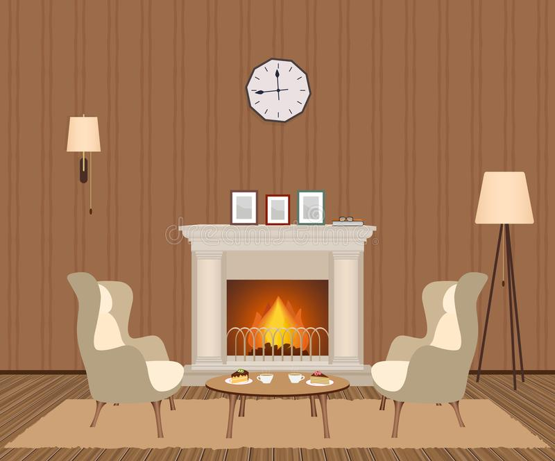 Cozy living room interior with fireplace, armchairs, clock, lamps and photoframes. Domestic room design. royalty free illustration