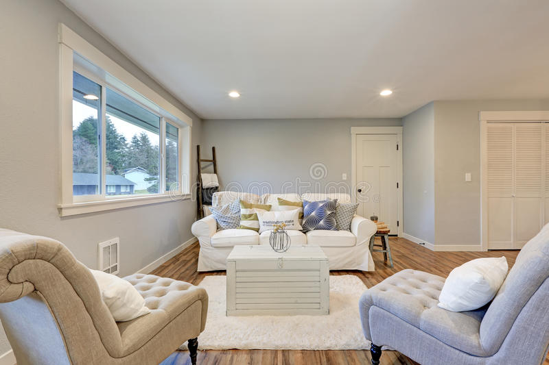 Download Cozy Living Room Space With Soft Blue Grey Walls Stock Image