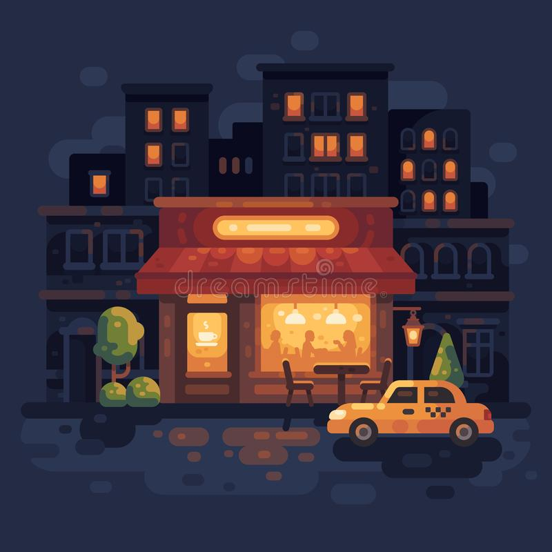 Cozy night street cafe scene flat illustration. Evening city street stock illustration