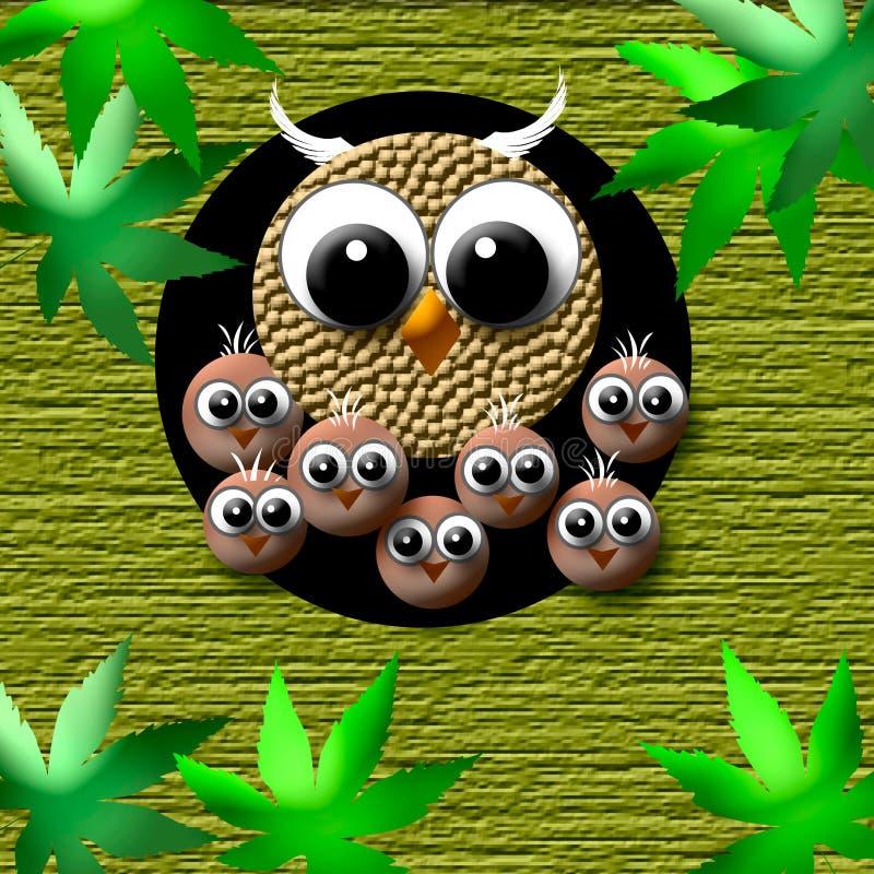 Cozy owl family vector illustration