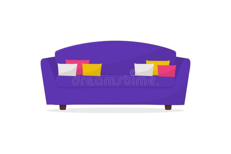 Cozy purple Sofa Bekvämt soffa med kuddar Möbler för vardagsrum Inredningselement i hemmet vektor illustrationer