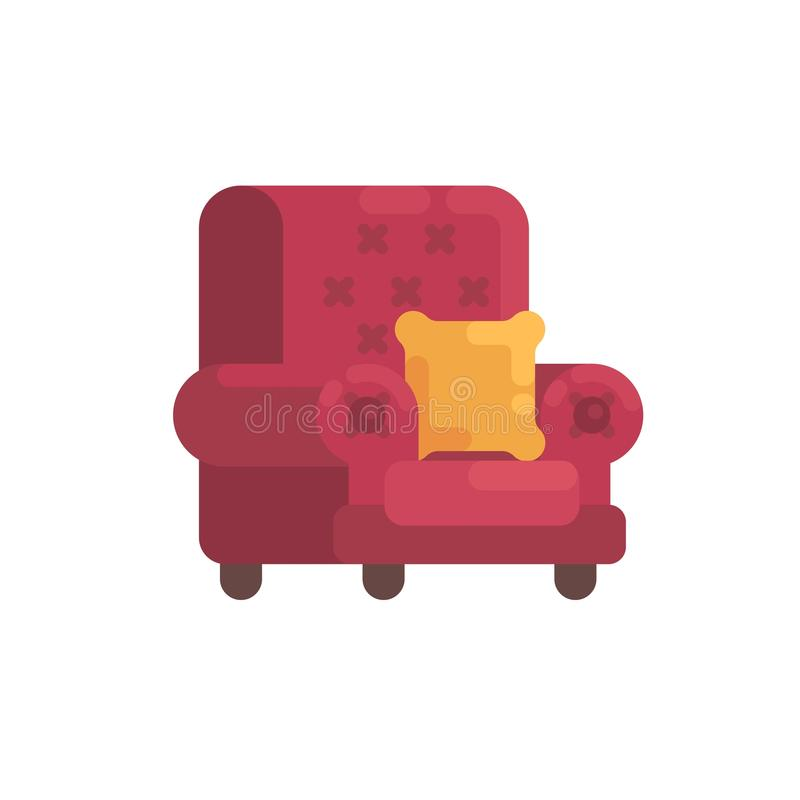 Cozy red armchair with orange pillow. Home furniture flat icon vector illustration