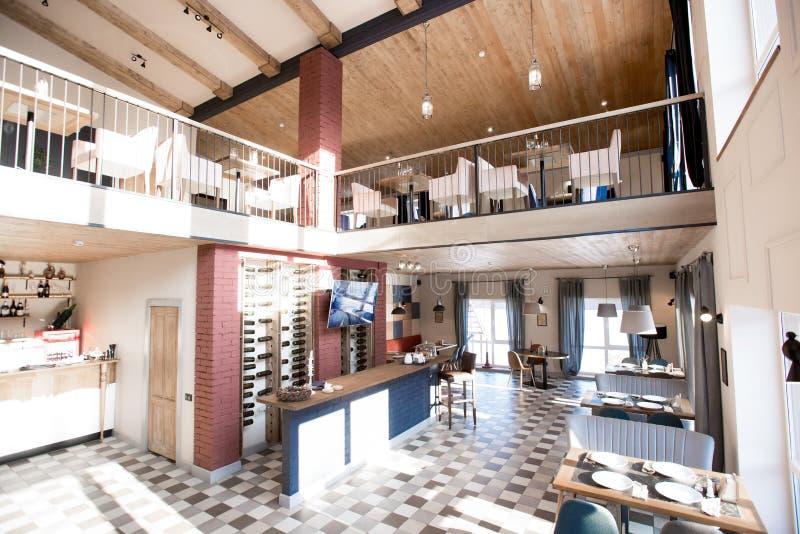 Cozy Restaurant With Fashionable Interior Design Stock Image - Image ...