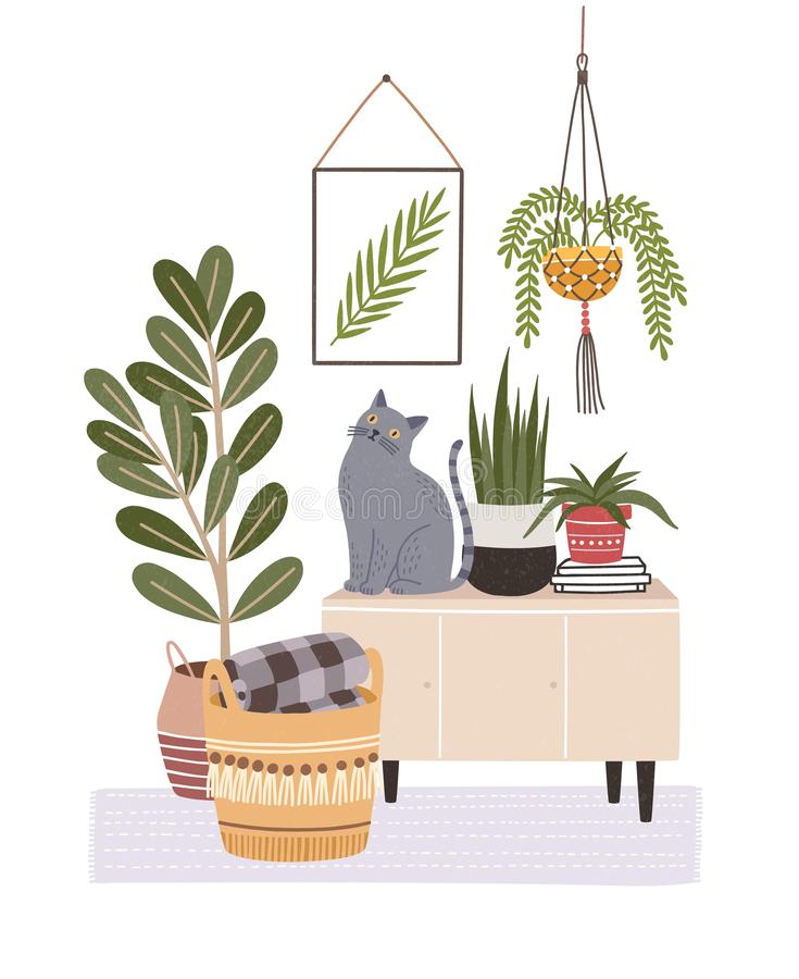 Cozy room interior with cat sitting on cupboard or sideboard, houseplants in pots, wall picture, basket. Composition. With furniture and home decorations in vector illustration