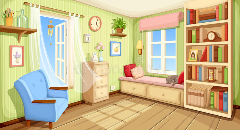 Cozy room interior. Vector illustration. Vector cozy room interior with bookcase, couch and armchair
