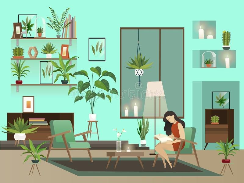 Cozy room. Vector night living room with lone reading woman and urban garden vector illustration