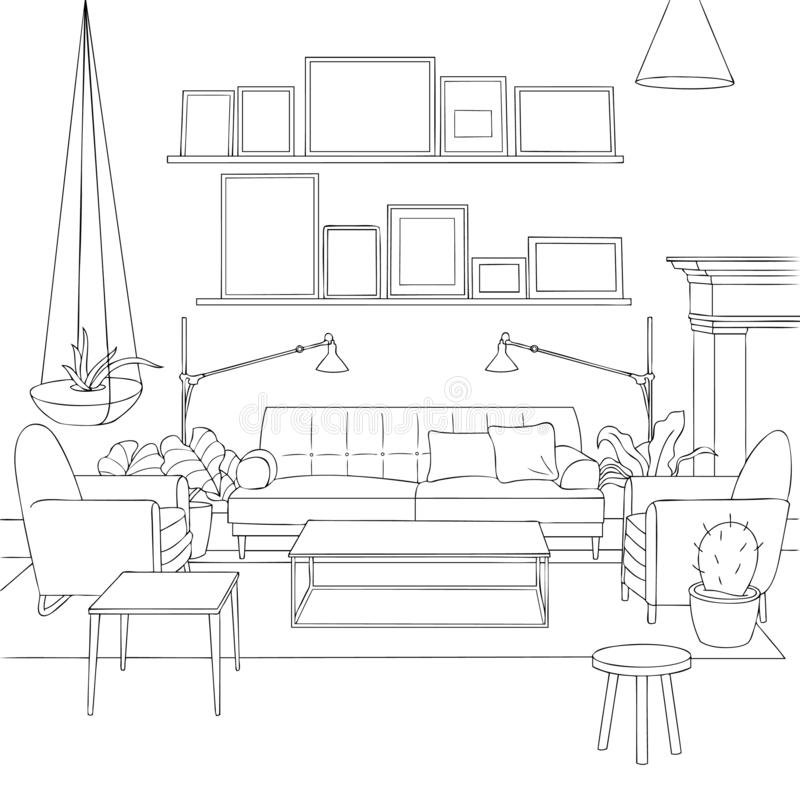 Cozy Scandinavian Living Room Outline Stock Illustration Illustration Of Print Lamp 135235379