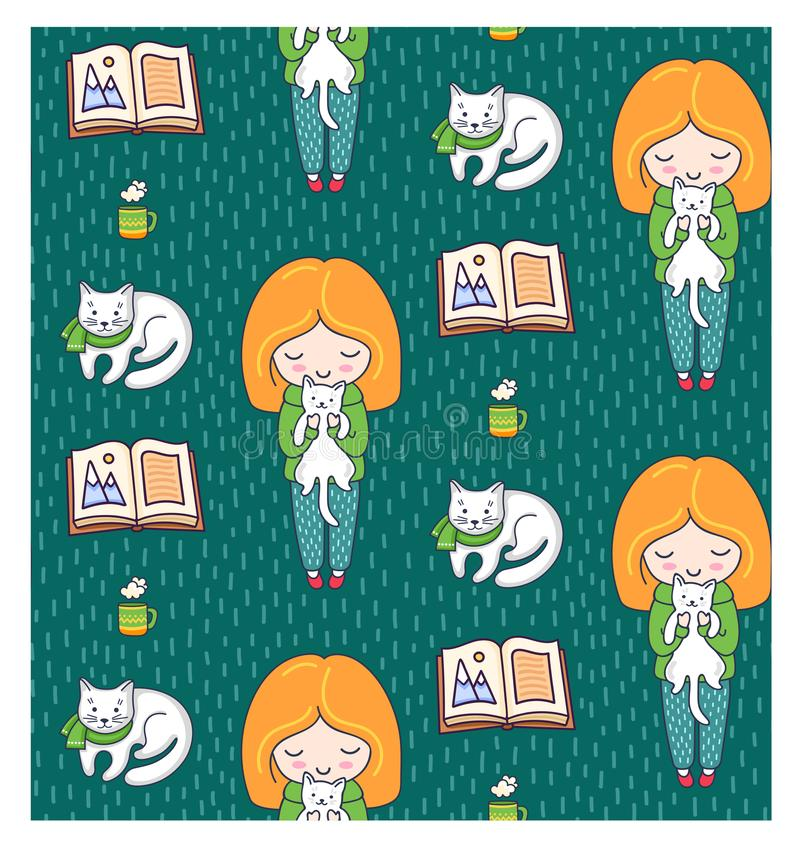 Cozy seamless patterns with ginger girls and cats on a green background. stock illustration