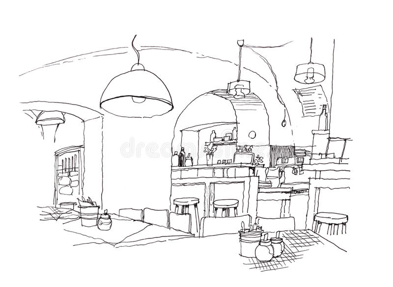 Cozy small cafe interior hand drawing illustration vector illustration