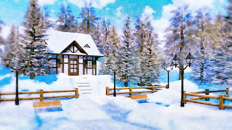 Cozy snowbound house at winter day in watercolor stock illustration