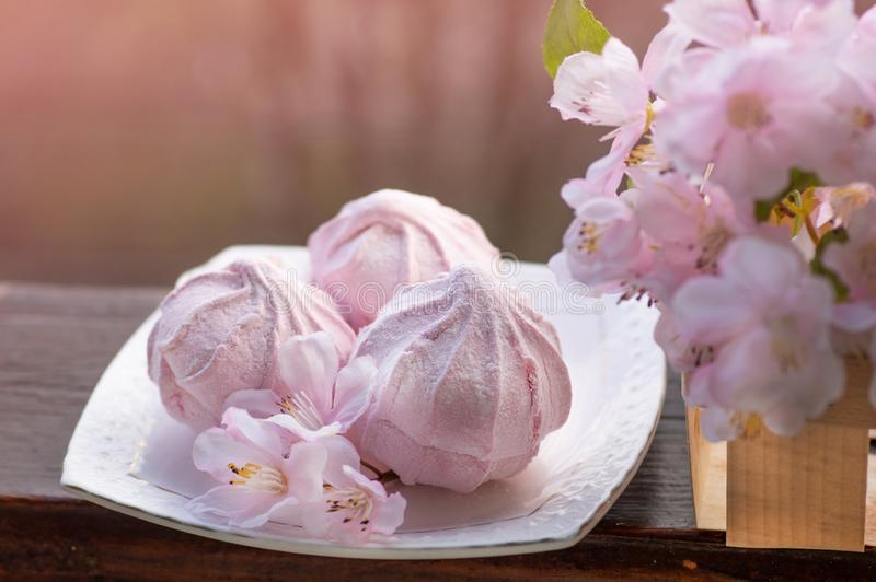 Cozy spring still life: cup of hot tea with spring bouquet of flowers on vintage windowsill with a pink marshmallow. Spring. Apartment stock photography