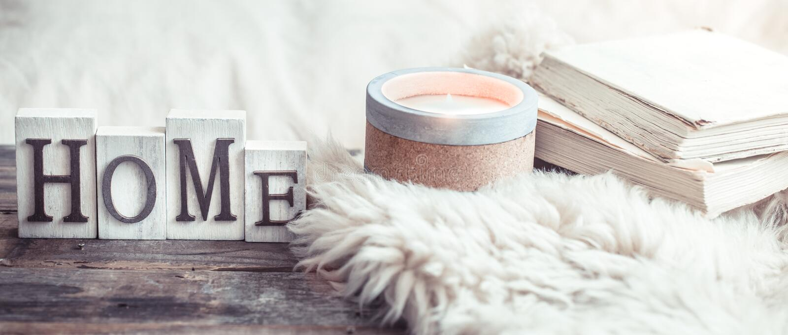 Cozy still life with details in the interior and wooden letters royalty free stock photography
