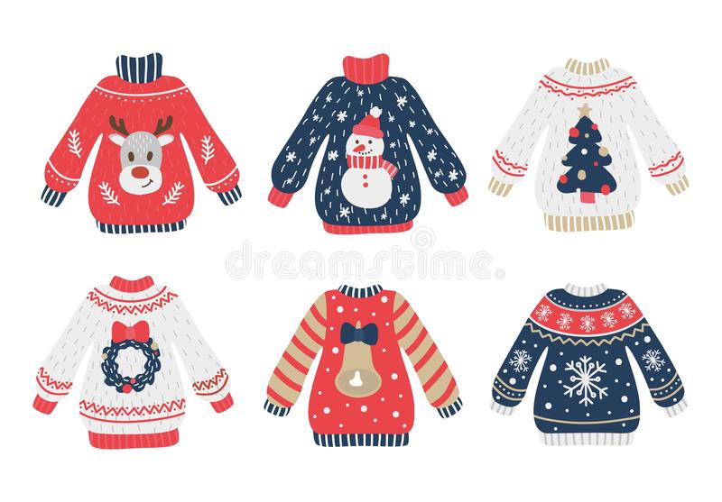 Cozy and ugly knitted sweaters christmas set. Vector illustration. X-mas collection of knitwear jumper with xmas deer, snowman, fir-tree, snowflake, jingle royalty free illustration