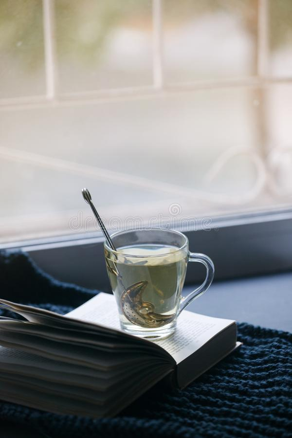 Cozy winter autumn still life: cup of hot tea, warm plaid and opened book on windowsill. Minimal unplug calmness relax concept,. Seasonal weekend or depression stock image
