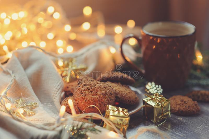 Cozy winter and Christmas setting with hot cocoa and homemade cookies. Warm and homely, Danish hygge concept royalty free stock photo
