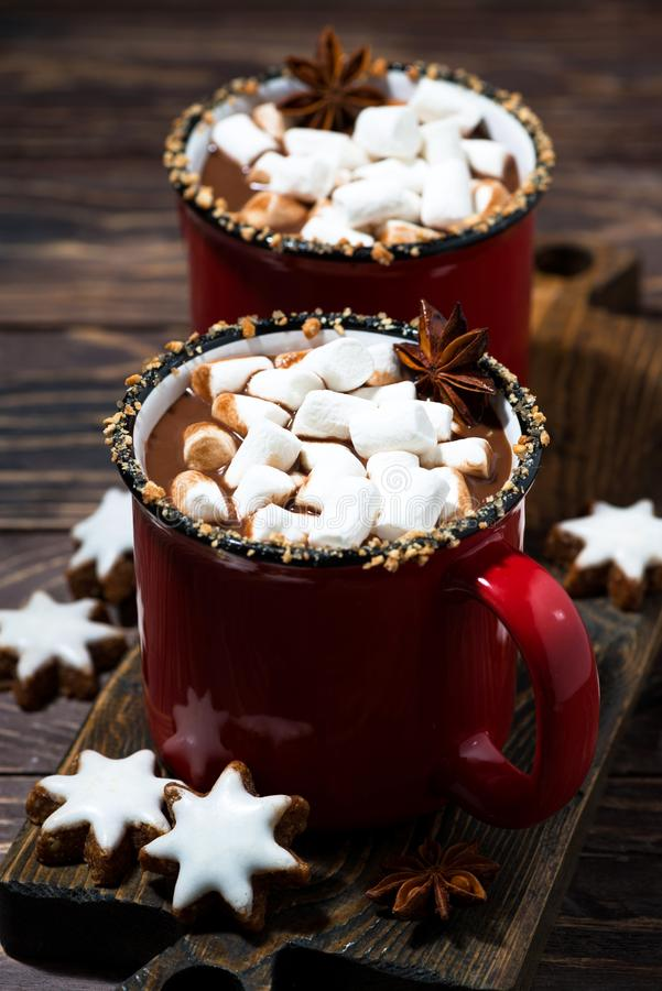 Cozy winter drink hot chocolate with marshmallows, vertical. Cozy winter drink hot chocolate with marshmallows, top view royalty free stock photo