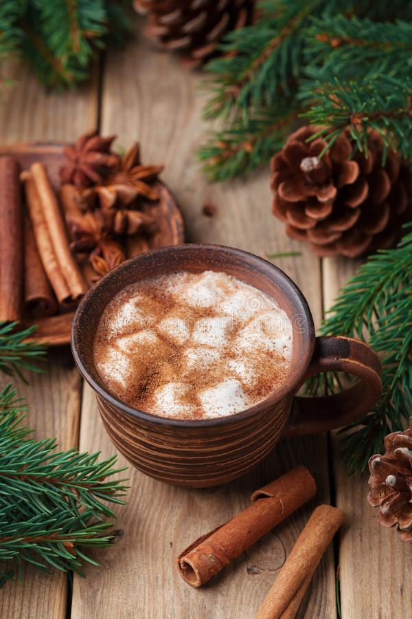 Cozy winter still life. Cup of hot cocoa with marshmallows and cinnamon on rustic wooden table. stock photo