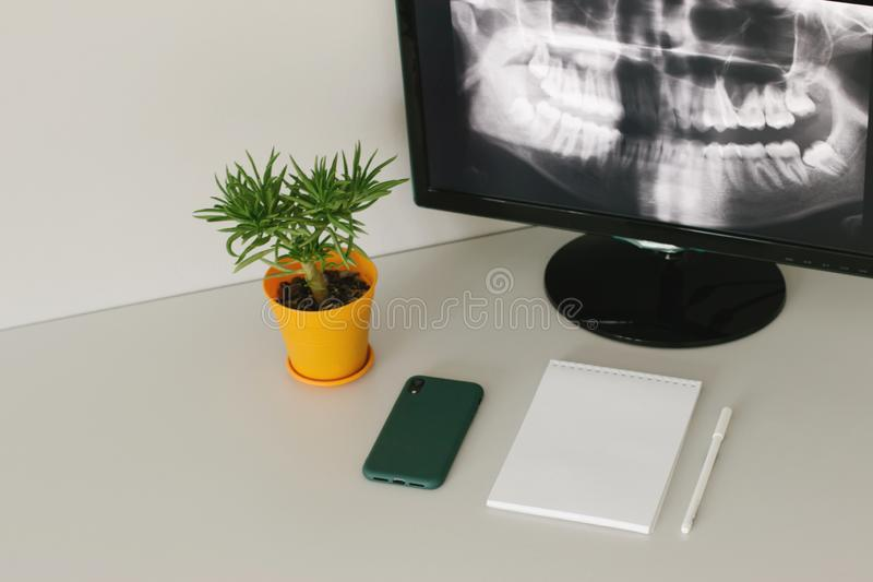 Cozy working place of radiologist royalty free stock image