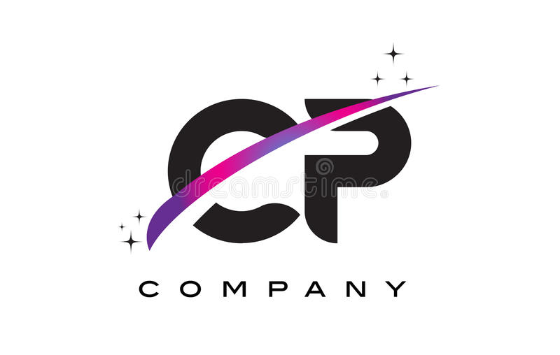 CP C P Black Letter Logo Design with Purple Magenta Swoosh. And Stars royalty free illustration
