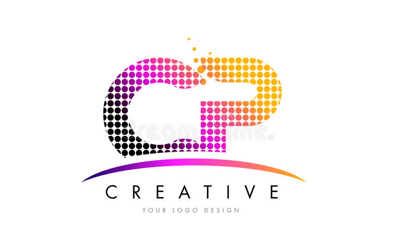 CP C P Letter Logo Design with Magenta Dots and Swoosh. CP C P Dots Letter Logo Design with Magenta Bubble Circles and Swoosh vector illustration