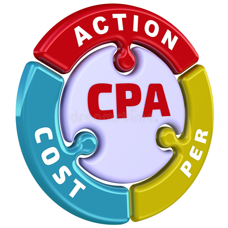 CPA Κόστος ανά δράση Το σημάδι ελέγχου υπό μορφή γρίφου απεικόνιση αποθεμάτων