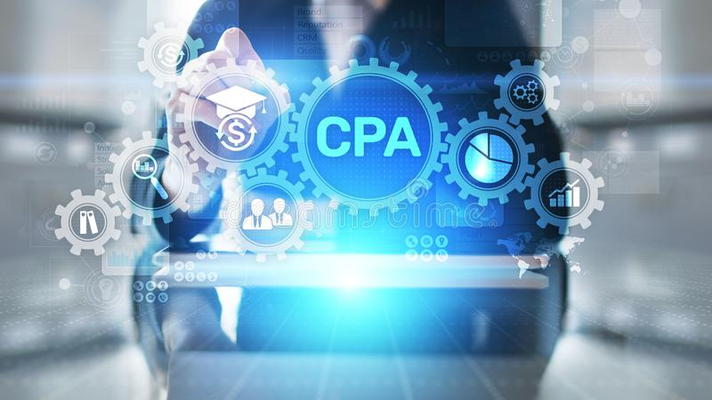 CPA Certified Public Accountant Audit Business concept on virtual screen. CPA Certified Public Accountant Audit Business concept on virtual screen stock image