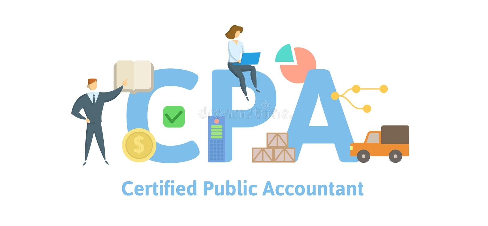 CPA, Certified Public Accountant. Concept with keywords, letters and icons. Flat vector illustration. Isolated on white stock illustration