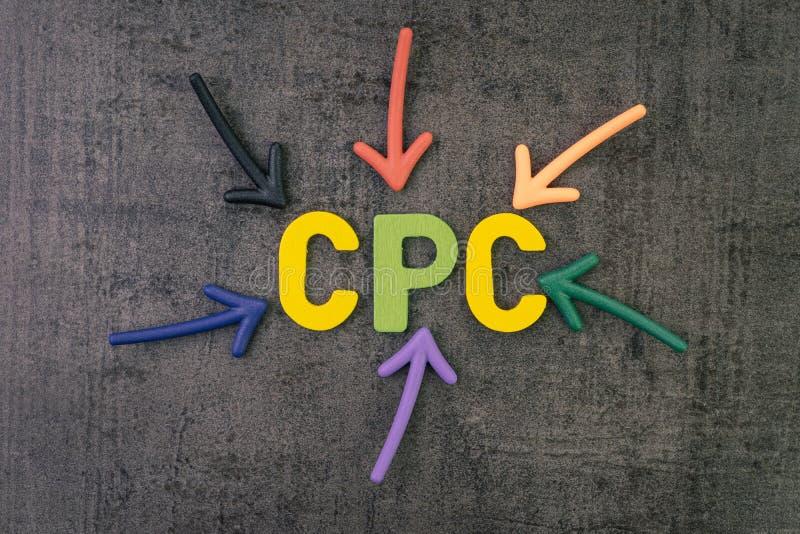 CPC, coste por tecleo KPI principal para la industria de publicidad online, flechas coloridas que señalan a la palabra COSTADA en imagen de archivo libre de regalías