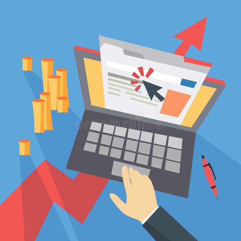 CPC kostar per klicken som annonserar i internet stock illustrationer