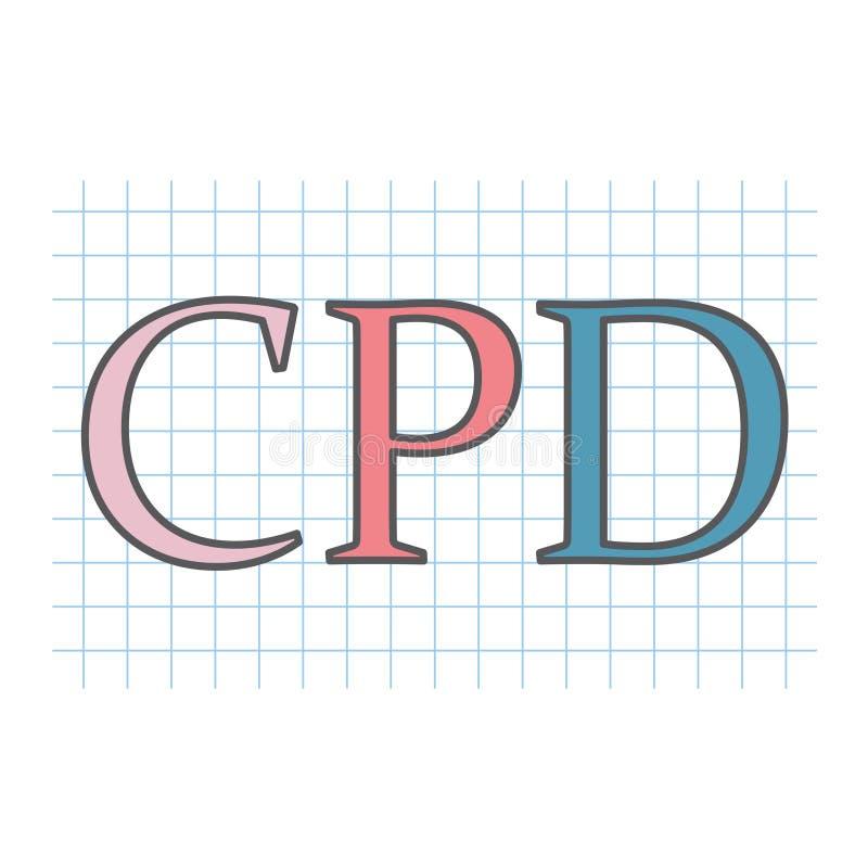 CPD Kontynuuje Fachowego rozwój pisać na w kratkę papierze ilustracji