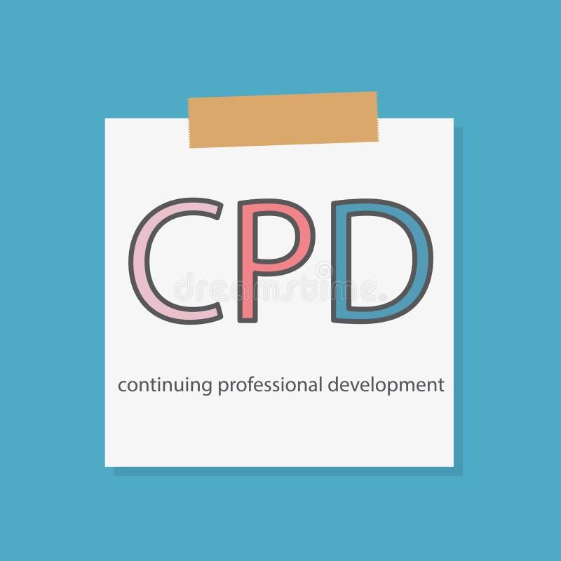 CPD Kontynuuje Fachowego rozwój pisać w notatniku royalty ilustracja
