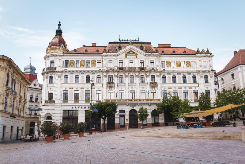 CPE, HUNGRIA julho 15 2017 Condado salão no quadrado de Szechenyi, CPE fotografia de stock royalty free