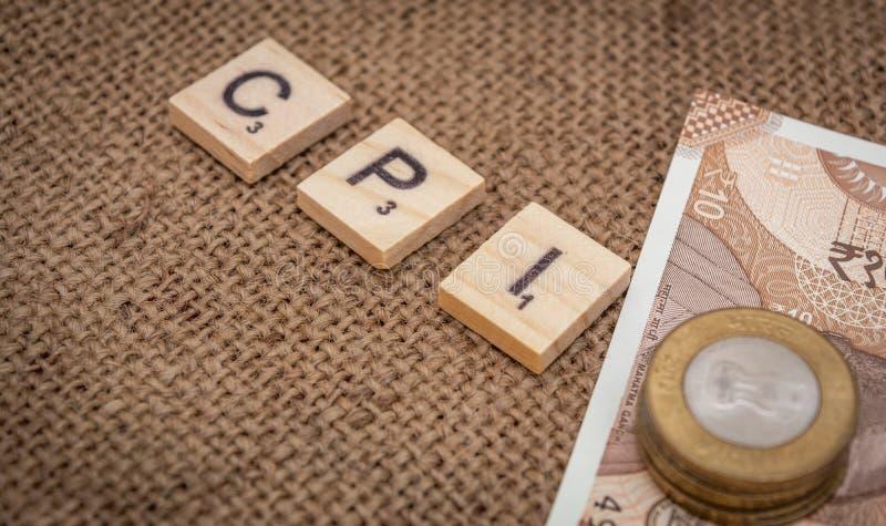 CPI与印度货币的零售价指数词 库存图片