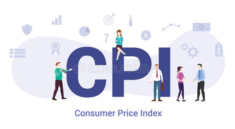 Cpi concepto de índice de precios al consumidor con palabras grandes o texto y equipo personas con estilo plano moderno - vector libre illustration