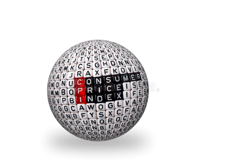 CPI Consumer Price Index 3d. CPI Consumer Price Index definition written on dices on 3d sphere royalty free stock photo
