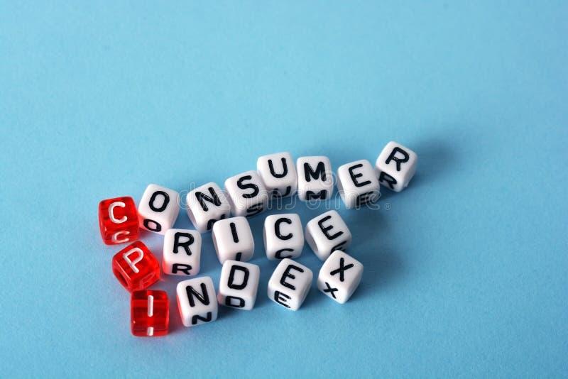 CPI Consumer Price Index. Definition acronym on blue stock photos