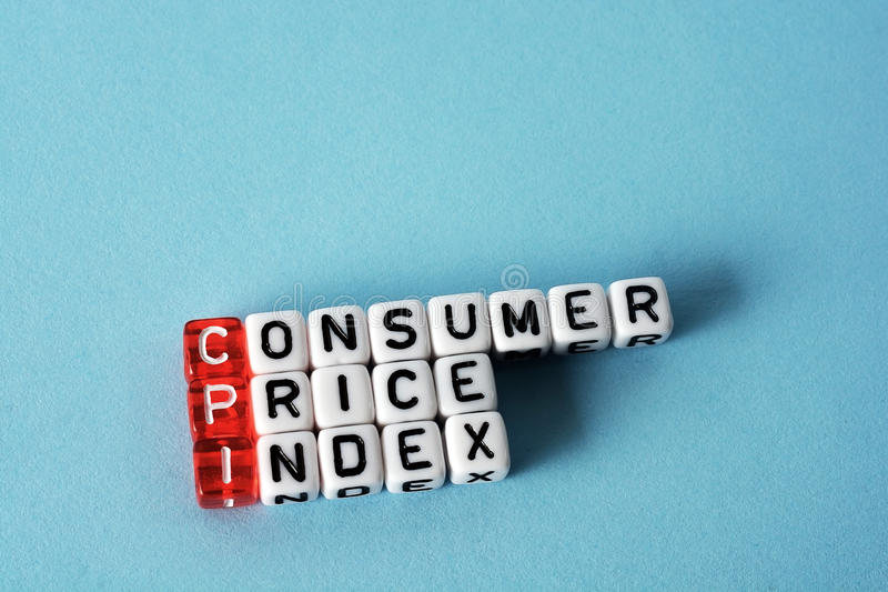 CPI Consumer Price Index. Definition acronym on blue royalty free stock photos