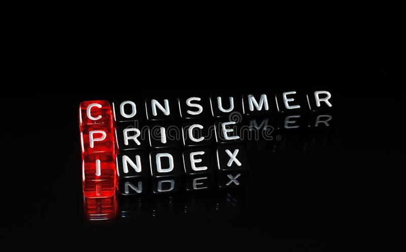 CPI Consumer Price Index. Definition written on dices royalty free stock image