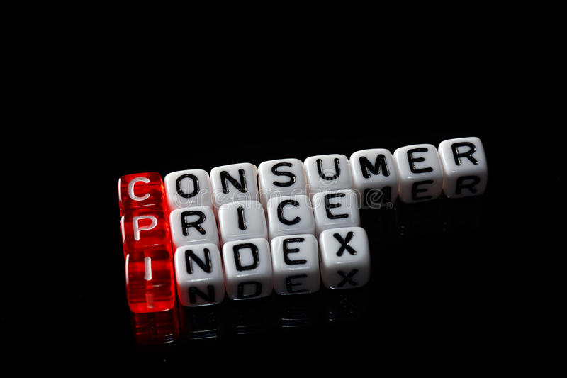 CPI Consumer Price Index. Definition written on dices stock photos