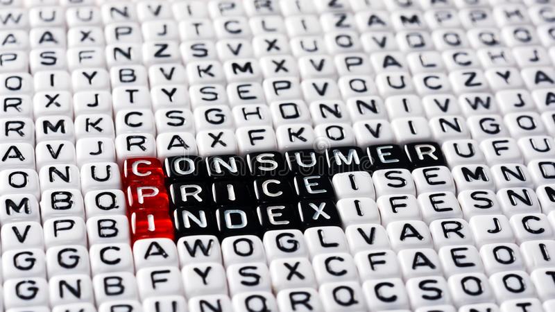 CPI Consumer Price Index. Definition written on dices royalty free stock photography