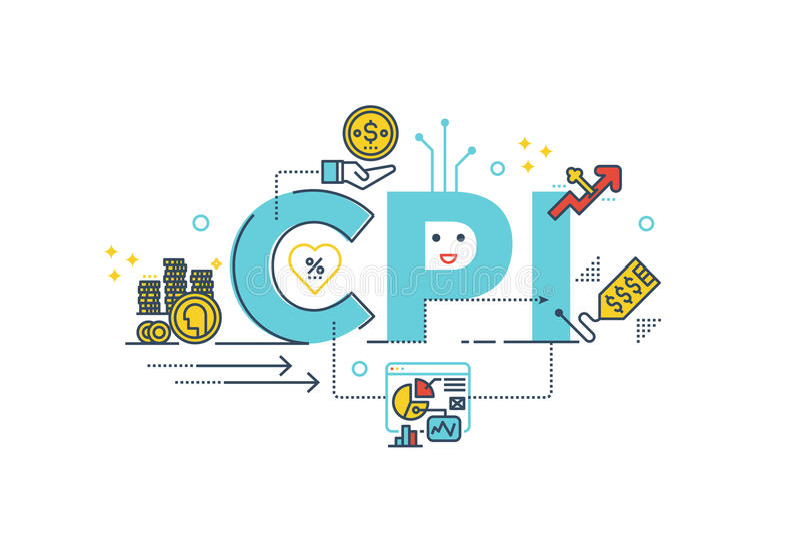 CPI: Palavra de índice de preços de consumo ilustração stock