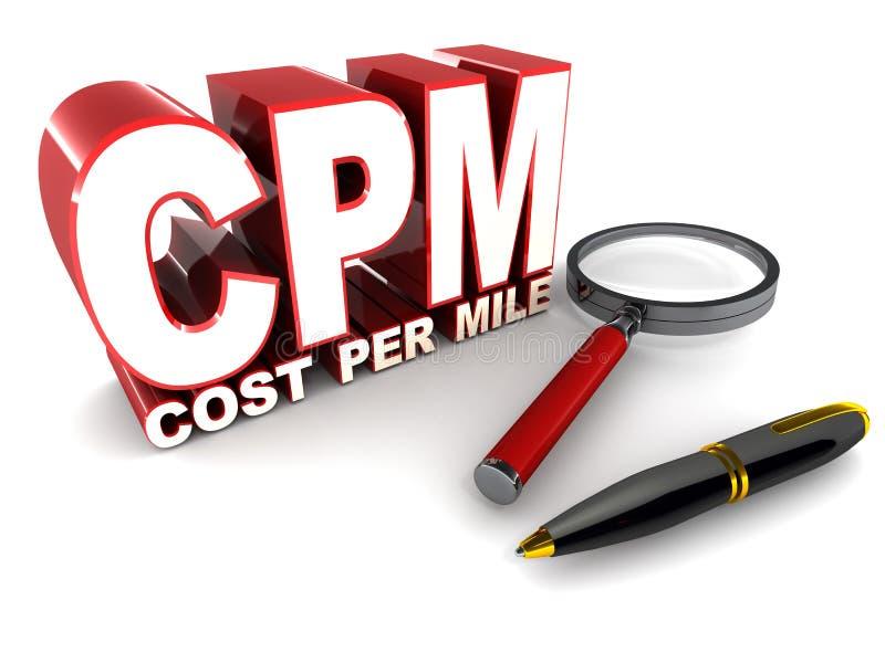 Cpm cost per mile stock illustration