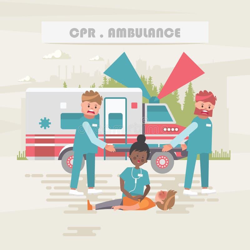 CPR ambrosial Медицинская концепция вектора Иллюстрация здравоохранения и обработки иллюстрация штока